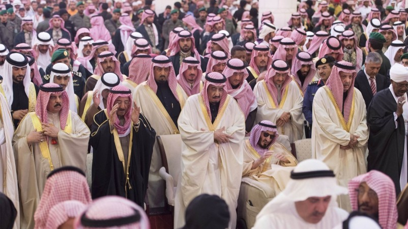 Saudi King Salman (C) prays during the funeral of the late Saudi King Abdullah in Riyadh January 23, 2015, in this handout photo provided by Saudi Press Agency.