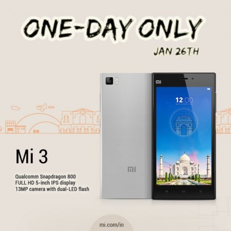 Xiaomi Mi3 Flipkart Flash Sale Returns on India's Republic Day for One Last Time