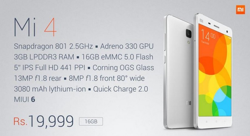 Xiaomi Launches Mi4 with MIUI v6.0 in India; Price, Specifications