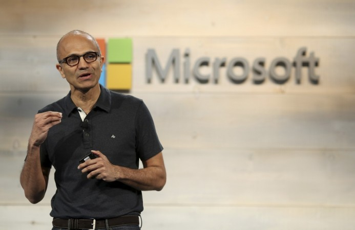Microsoft CEO Satya Nadella speaks during a Microsoft cloud briefing event in San Francisco