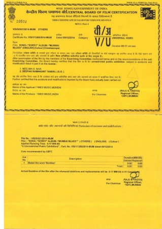 Censor Board certificate for music video of 'Sorry'