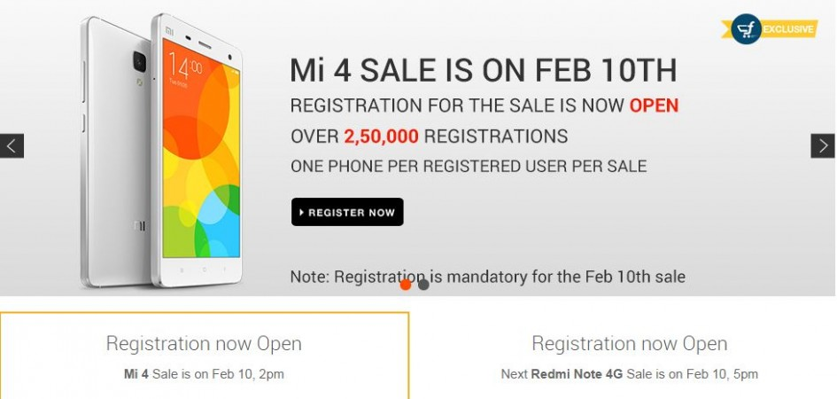 Xiaomi Mi4, Redmi Note 4G Flipkart Flash Sale to Kick-off on 10 February