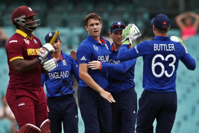 England Chris Woakes West Indies Dwayne Smith