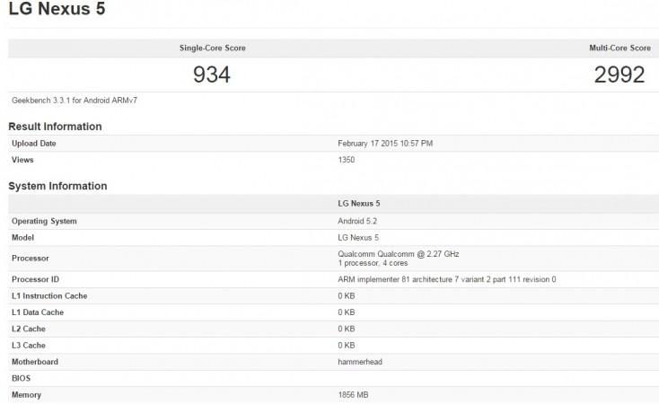 Android 5.2 running on Nexus 5