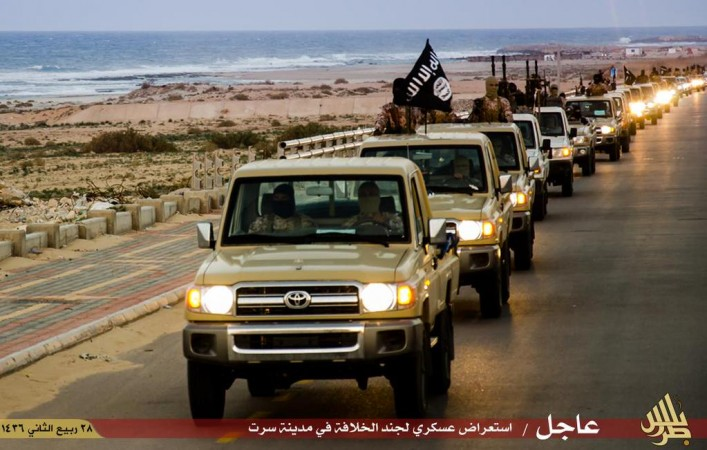 In defiance to the airstrikes by Egypt, Isis militants carried out a parade around the city.