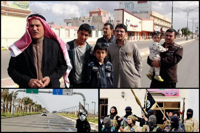 Isis photo report shows residents inside Tikrit (top). A jihadi fighter with an Isis flag at the entrance towards Tikrit.(below left) Isis fighters pose with weapons (below right)