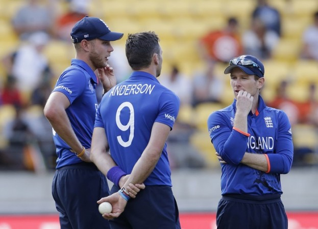 James Anderson Stuart Broad Eoin Morgan England ICC Cricket World Cup 2015