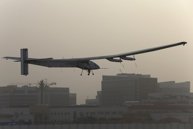 The Solar Impulse 2 takes off at Al Bateen airport in Abu Dhabi March 9, 2015.