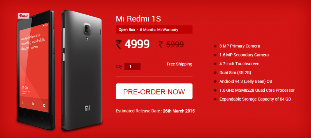 Xiaomi To Sell Refurbished, Open Box Redmi 1S At Discounted Price; First Sale To Kick off 26 March