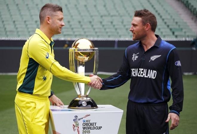 Michael Clarke Australia Brendon McCullum New Zealand ICC Cricket World Cup 2015 Trophy