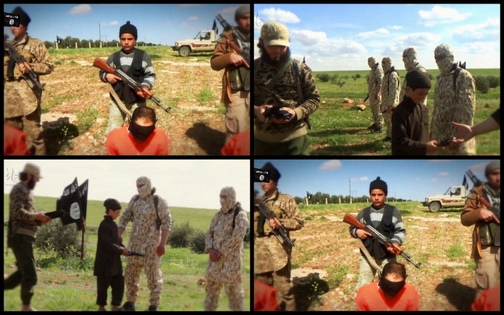Isis beheading video featuring young teenaged boys.
