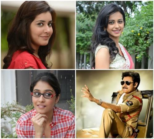 Raashi Khanna, Rakul Preet Singh, Regina Cassandra and Pawan Kalyan