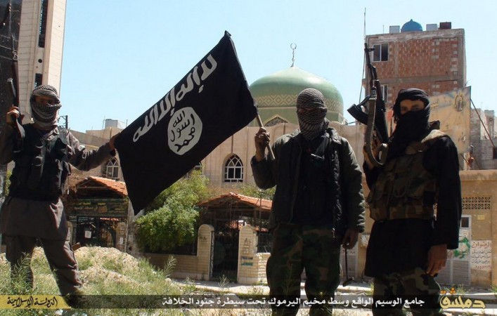 Isis fighters inside Yarmouk camp