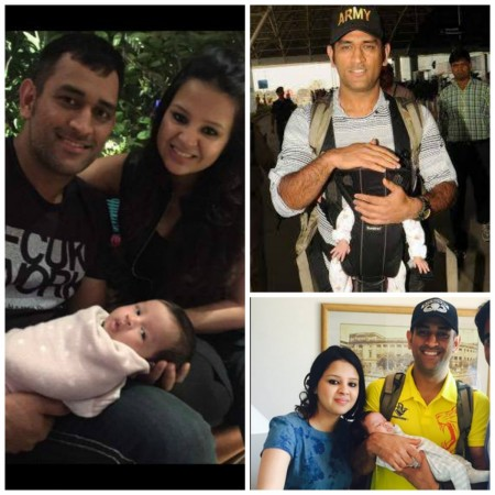 MS Dhoni and Sakshi Dhoni with Ziva