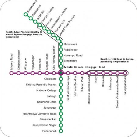 Bangaloe Metro Route Map