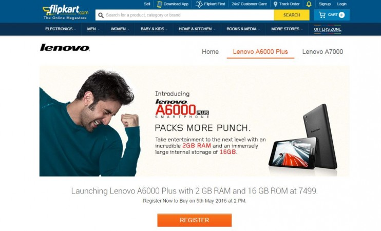 Lenovo A6000 Plus Flipkart Flash Sale 2.0 on 5 May