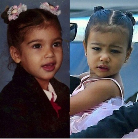 Kim Kardashian as a toddler and her daughter North West