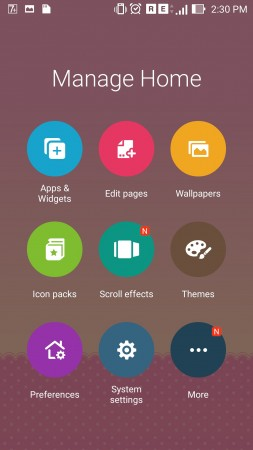 Home Screen manager of Zenfone 2