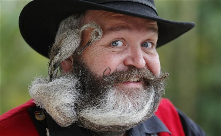 A participant poses during the 2012 European Beard and Moustache Championships in Wittersdorf near Mulhouse, Eastern France, September 22, 2012