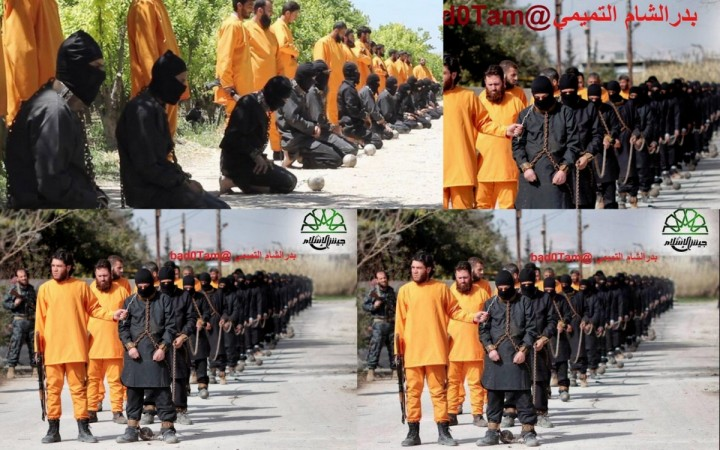 Images claimed to be part of a soon to be released execution video show men in orange jumpsuits executing Isis fighters.