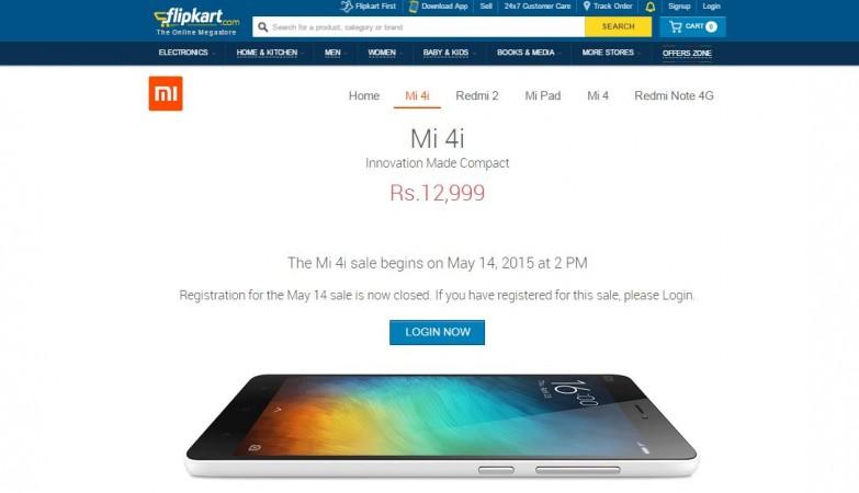Xiaomi Mi4i Flipkart Flash Sale 3.0 to go Live on 14 May