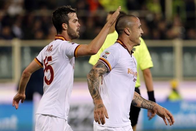 Roma midfielders Miralem Pjanic and Radja Nainggolan