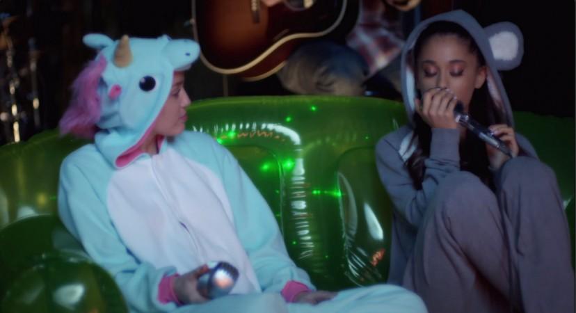 Miley Cyrus and Ariana Grande.