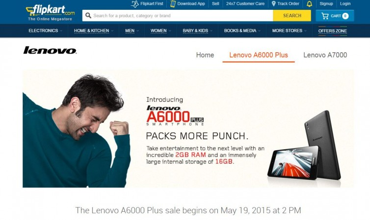 Lenovo A6000 Plus Flash Sale 4.0 to go Live on 19 May