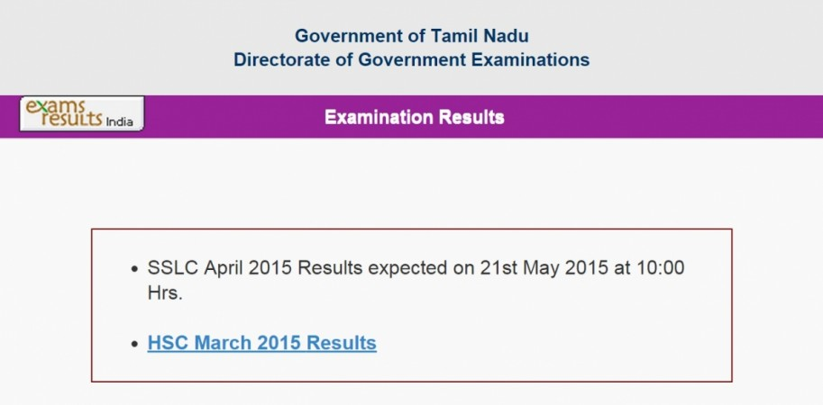 Tamil Nadu Class 10 SSLC Results 2015 to be Announced on 21 May