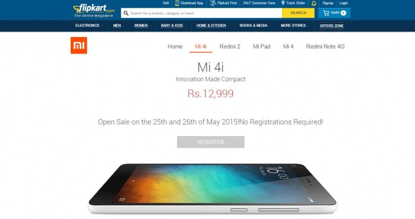 Xiaomi Mi 4i Open Sale to Start Next Week on Flipkart