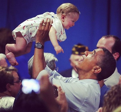 President Obama loves kids and is used to having them around.