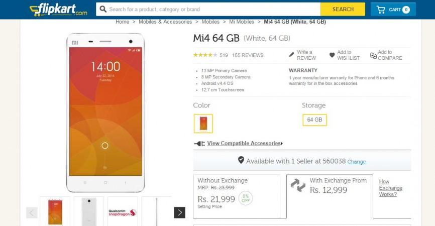 Flipkart Now Offering Exchange Deals on Xiaomi Mi 4, Redmi 2, Redmi Note 4G with Huge Cash Discounts; Mi 4i Open Sale to End on 26 May
