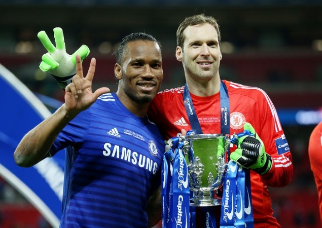 Chelsea's Didier Drogba and Petr Cech