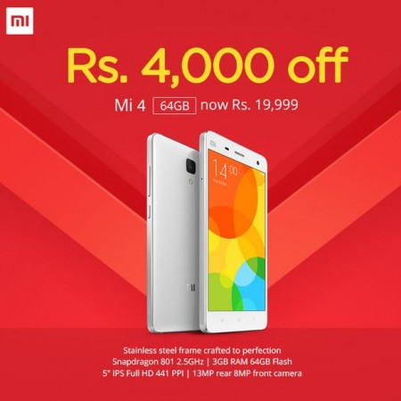 Xiaomi Mi4 64GB Gets ₹4,000 Price-Cut; Exchange Offer Also Available with Additional ₹5,000 Cash-Back