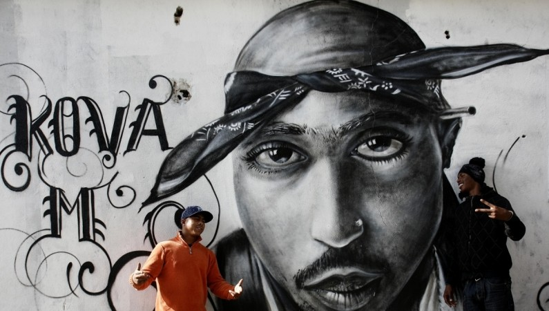 Graffiti of murdered rapper Tupac Shakur in the Cova da Moura district in Lisbon