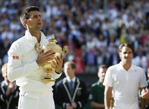 Novak Djokovic Wimbledon Trophy 2014 Roger Federer
