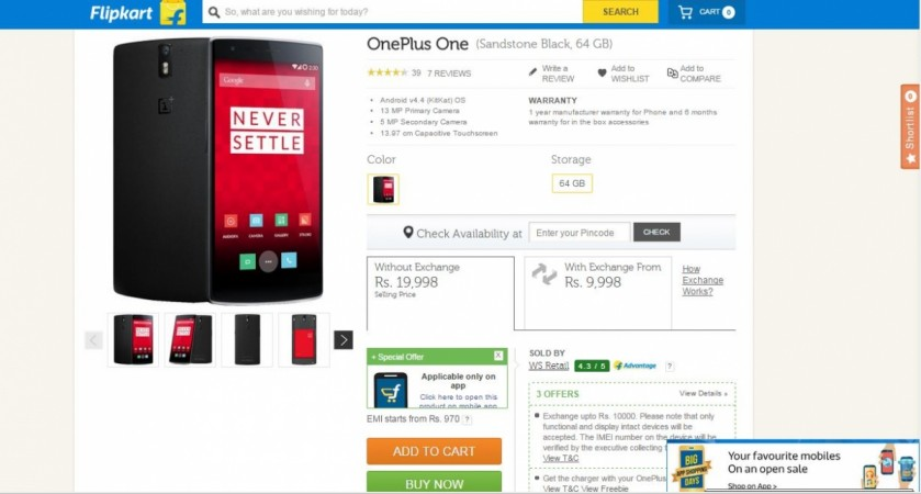 Flipkart Big App Shopping Days Offer: You Can Now Bag OnePlus One for Under ₹10,000