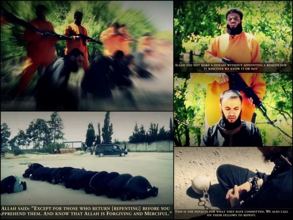 A Syrian rebel group has released an execution video showing the killing of 18 Isis fighters