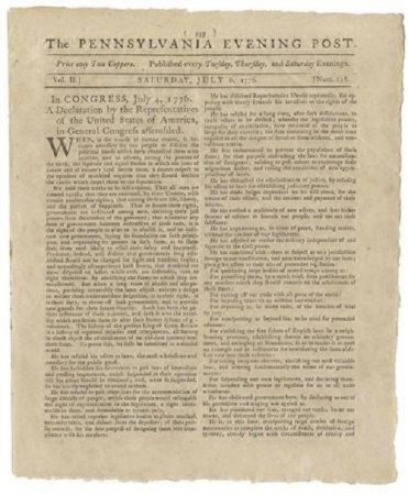 A handout photo shows the Declaration of Independence on the front page of the Pennsylvania Evening Post dated July 6, 1776 provided by Seth Kaller, Inc., on June 26, 2013
