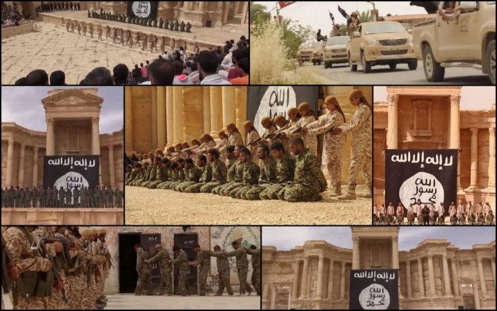 Isis uses child soldiers to execute 25 Syrian soldiers at Palmyra's Roman amphitheatre in new execution video.