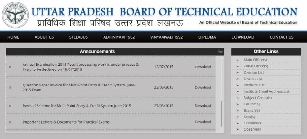 Uttar Pradesh Polytechnic Diploma exam or BTEUP 2015 result