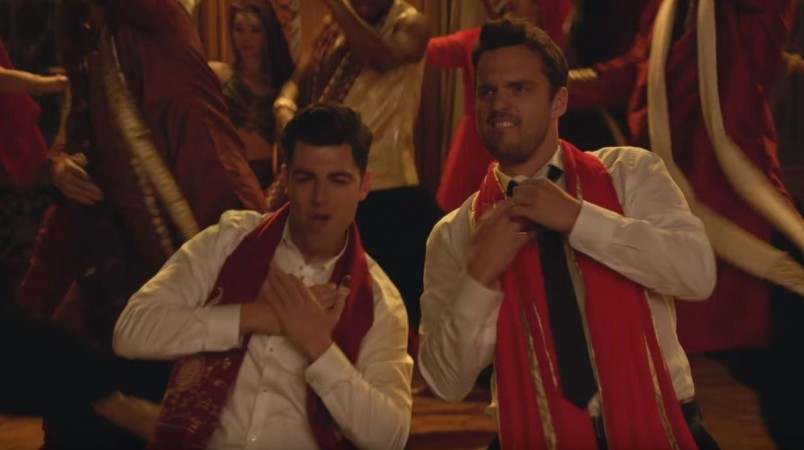 Nick, Schmidt and WInston dance to a Bollywood song