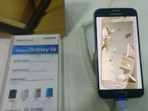 Samsung Galaxy S6 is displayed in a store in India