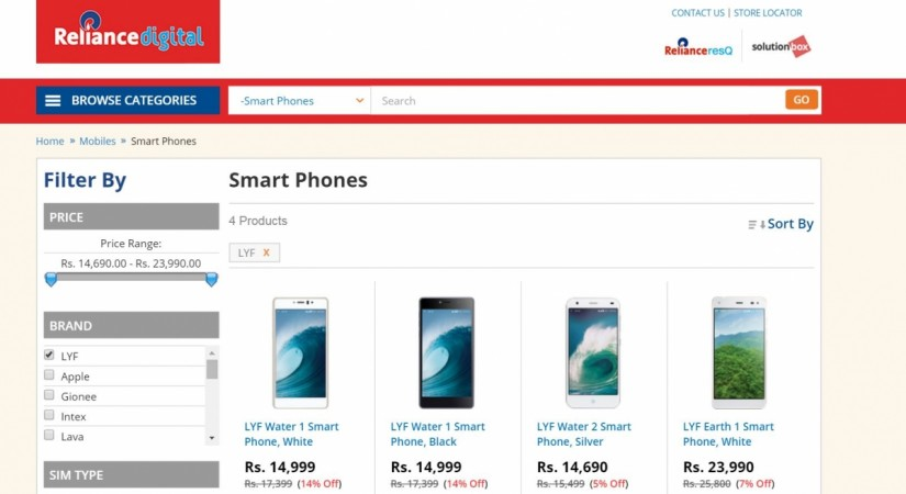 Reliance Lyf series smartphones Earth 1, Water 1, 2 listed on e-commerce site; price, specifications revealed