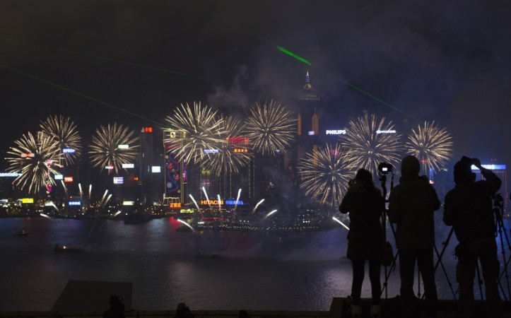Fireworks during the Chinese New Year in Hong Kong