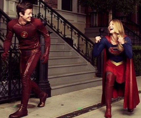 The Flash Grant Gustin and Supergirl Melissa Benoist