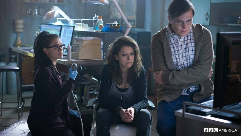 "Cosima, Sarah and Scott from the promotional photos for ""Orphan Black"" Season 4"
