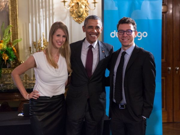 U.S. President Barack Obama (centre) meets Luis von Ahn (right) and Gina Gotthilf (left) of Duolingo, a language-learning app, during the White House Demo Day at the White House, Washington, D.C., Aug 4, 2015.