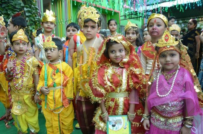 School childrens dress as Ramayan characters