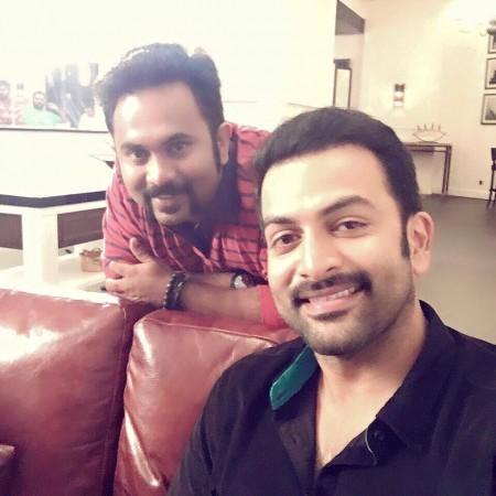 Aju Varghese with Prithviraj Sukumaran